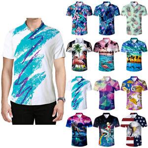 e42344c17d Men's 3D Print Flower Hawaiian Shirt Casual Beach Short Sleeve ...