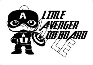 Marvel Captain America Little Avenger On Board Window Vinyl Decal Sticker