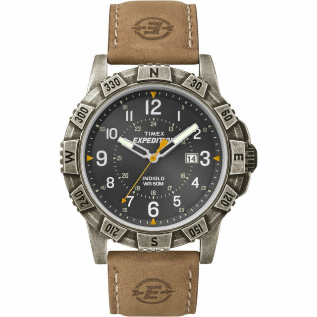 Timex T49991, Men's Watch, Expedition, Brown Leather, Indiglo, Date, T499919J