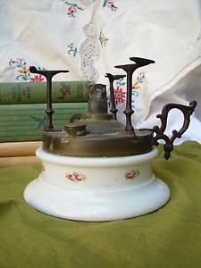 1800s Antique Plate Warmer Marque Depose Old Porcelain Brass Oil Kerosene Floral