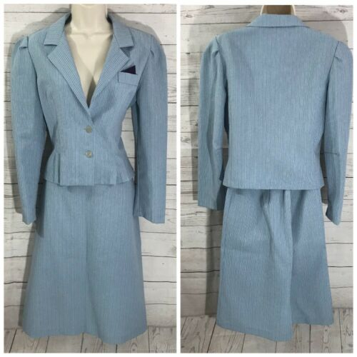 Vtg. Women's Business Blazer Jacket Skirt Set Pin Striped Blue Size 11 USA Made