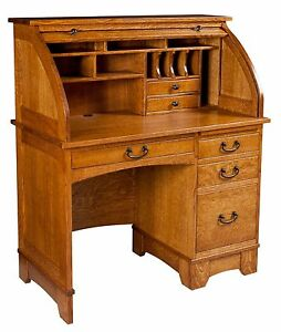 Amish mission rolltop desk secretary computer home office solid wood furniture ebay - Home office furniture solid wood ...