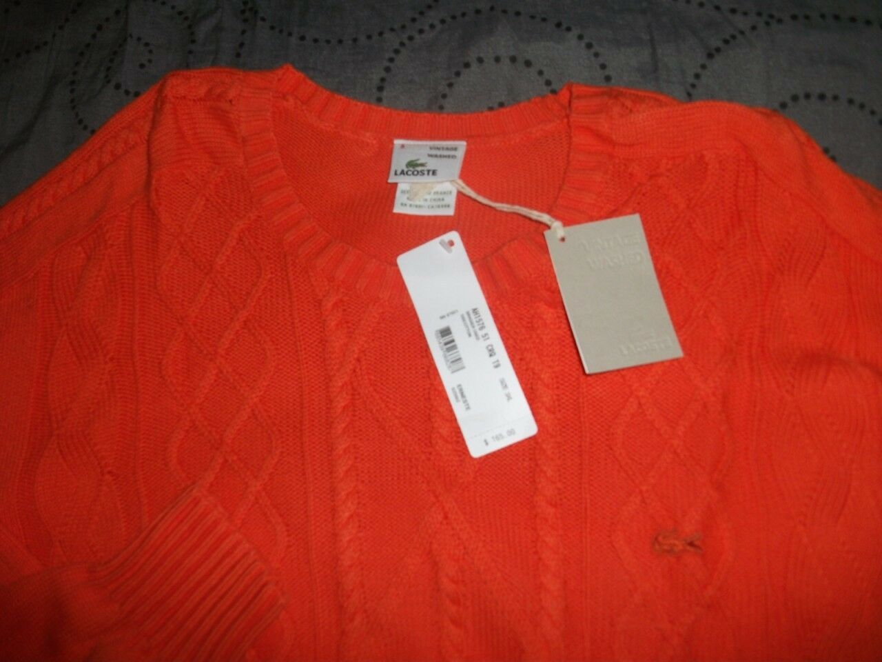 LACOSTE AUTHENTIC  SWEATER SIZE 9= 2XL  5 = M MEN NWT