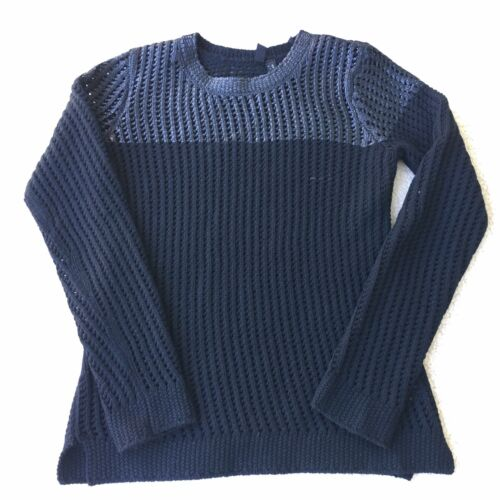 Knit Edun Crochet Open girocollo Size in Medium Top nera lana Maglione xwTUnqHBYx