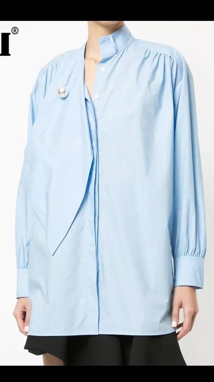"damen's Pearl Neck Tie ""Loose Fit"" Blouse Shirt Größe XL, 1X-3XL -Blau"