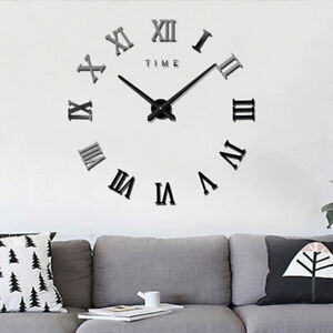 Modern-DIY-Roman-Numerals-Wall-Clock-3D-Mirror-Sticker-Home-Room-Decor-Black