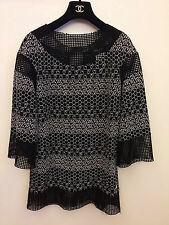 Chanel Black & White Cotton Blend Embroidered Mesh Top, Size 34