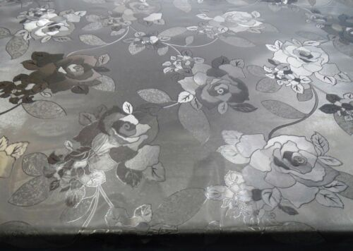 PVC TABLE CLOTH CLEAR EMBOSSED FLORAL ROSE FROSTY PLASTIC VINYL CLEAR PROTECTOR