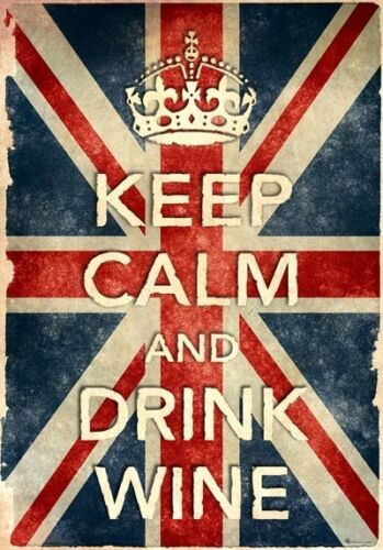 KCV7 Vintage Style Union Jack Keep Calm Drink Wine Funny Poster Print A2//A3//A4