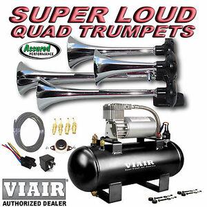 loud quad trumpet truck train air horn kit viair 275c. Black Bedroom Furniture Sets. Home Design Ideas