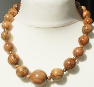 Halskette-aus-handgefertigtem-Olivenholz-034-271-034-Schmuck-Kette-Natur-Perlenkette