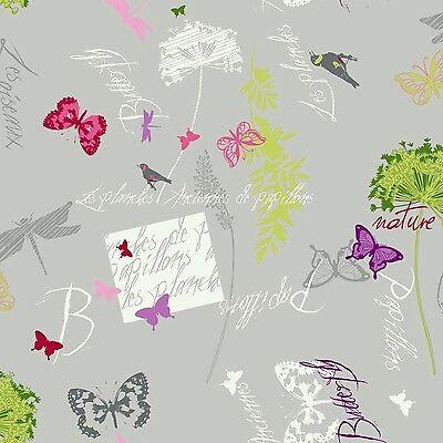 Tischdecke Meterware Wachstuch abwaschbar , Schmetterling nature grau 139-1