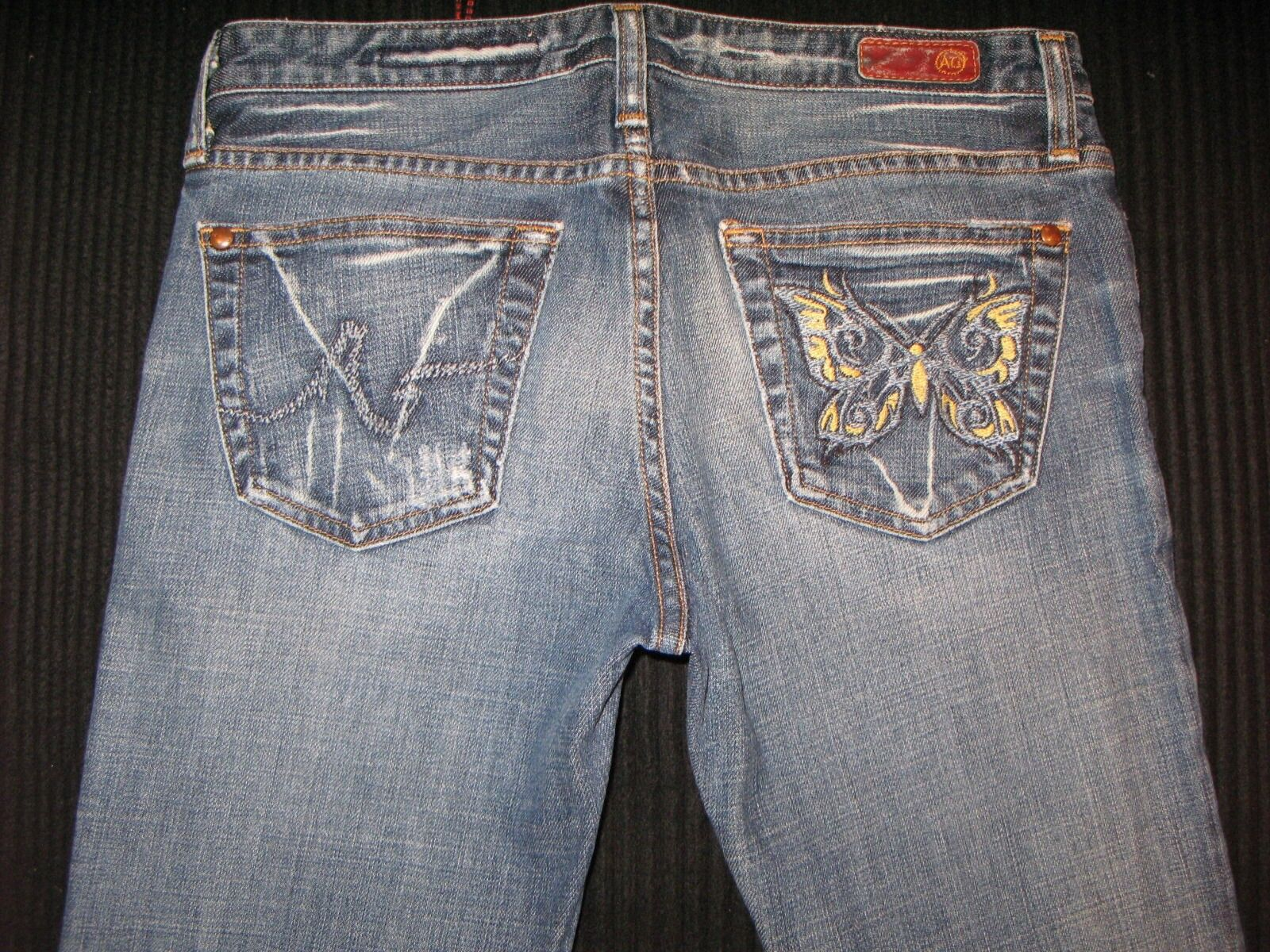 AG ADRIANO goldSCHMIED The Tease Jeans Sz 27 Low Boot Butterfly Pocs Distressed