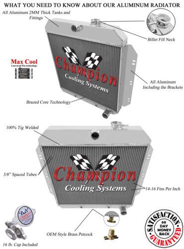 1960 1961 1962 C//K Chevy Apache Pickup Truck 3 Row Champion SubZero Radiator