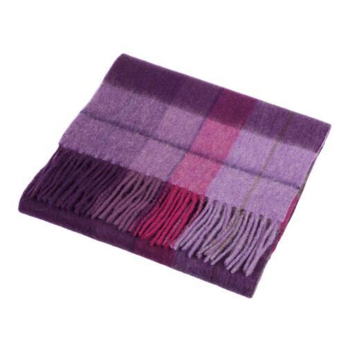 Edinburgh 100/% Lambswool Luxury Scottish Tartan Scarf Mixed Check Heather//Pink