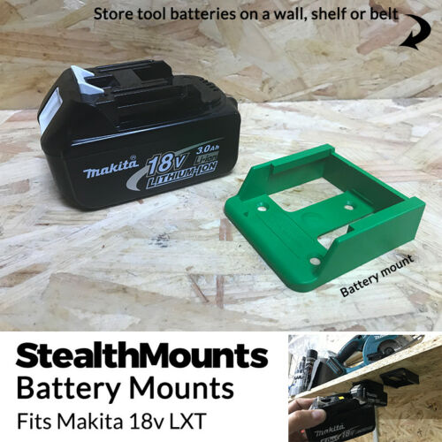 20x Vert Batterie Mounts for Makita 18 V LXT Li Ion Batteries détenteurs suspension murale