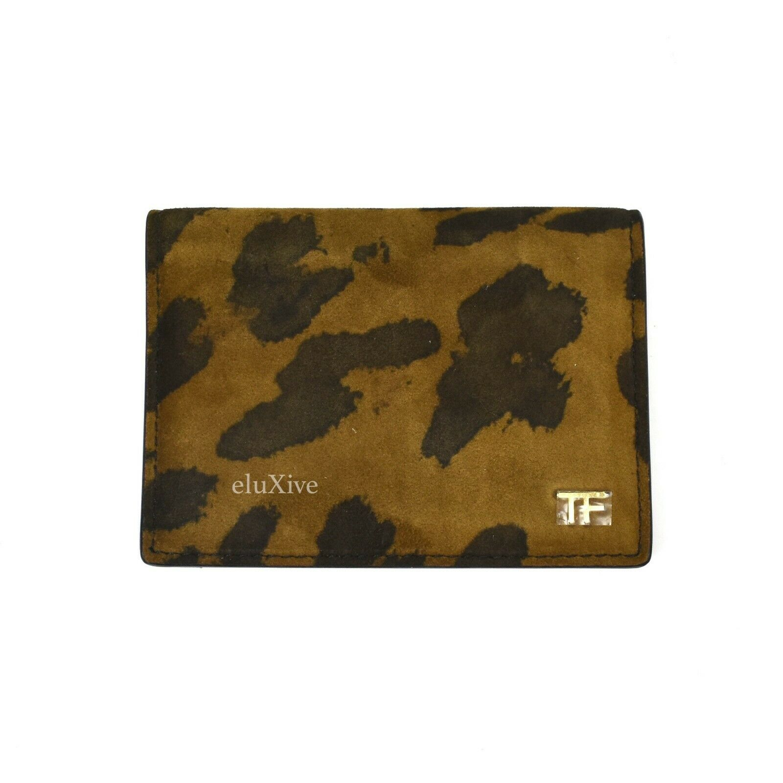 NWT TOM FORD Men's Leopard Print Suede Leather Mini Bifold Wallet AUTHENTIC