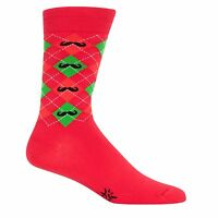Sock It To Me Merry Mustache Crew Socks Derby Mens Disc Golf Awesome Holiday