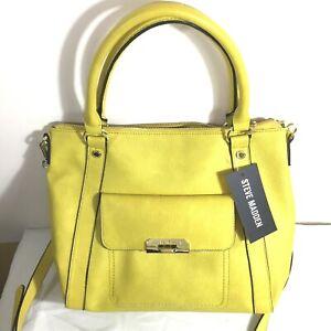 Steve Madden Purse Handbag shoulder Bag Large Yellow NEW With Tags $68