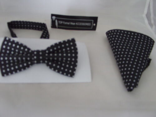 020 100/% Silk Mens Bow Tie  and Hankie Set Black with Silver Polka Dots