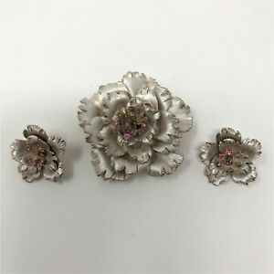 Gold-amp-Frosted-Silver-Purple-Trembler-Rhinestone-Flower-Brooch-amp-Clip-Earrings