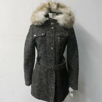 Laundry Womens Xs - Xl Belted Wool Coat W/ Faux Fur Trim Hood Msrp $245 Jt 101