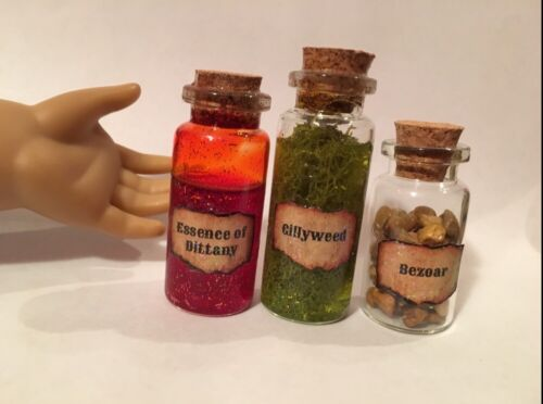 Harry Potter POTION BOTTLES Gillyweed Bezoar Dittany American Girl Doll Size
