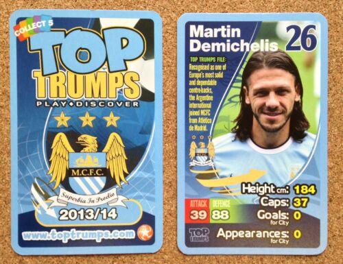 Top Trumps única tarjeta Manchester City Football Club 2013 2014 varios jugadores