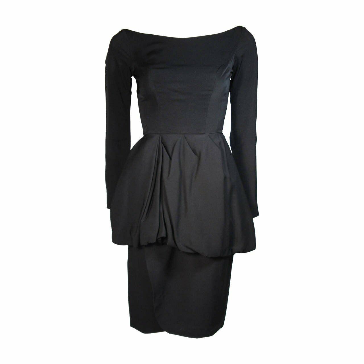 CEIL CHAPMAN Black Draped Princess Style Waist Dr… - image 1