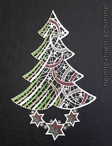 Spitze Für Tannenbaum.Details Zu Plauener Spitze Fensterbild Weihnachtsbaum Stern Winter Tannenbaum Weihnachten