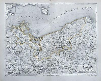 1878 Pommern Original Historische Landkarte Antik Antique Map Lithographie Schnelle WäRmeableitung
