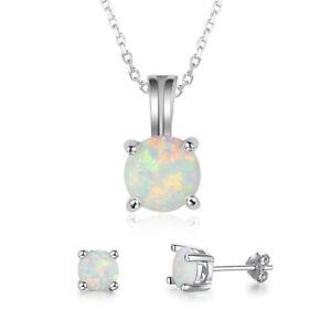 Fashion-White-Fire-Opal-Pendant-Necklace-Earrings-Set-925-Silver-Wedding-Jewelry