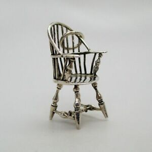 Sterling-Silver-WINDSOR-CHAIR-Pendant-CHARM-Antique-Collector-GIFT-Miniature