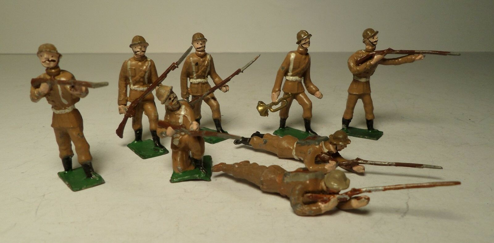 Lot 8 Early German Toy Lead WW I Soldiers Unknown Haffner Heyde Germany