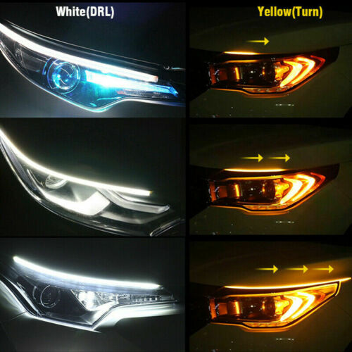 2X 60cm Flexible Slim LED DRL Strip Light Amber Sequential Turn Signal Headlight