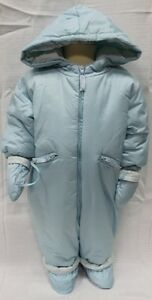 JACADI Unisex Secourir Baby Blue Hooded Cotton Snowsuit Size 6 Months NWT $97