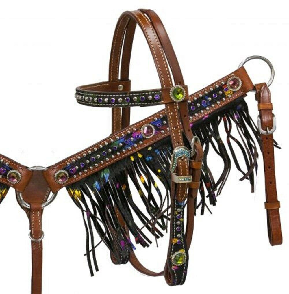 Metallic Splash  Hair on Cowhide Pony Size Headstall Breastcollar with Fringe  large discount