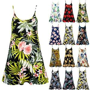 Womens-Ladies-Camisole-Cami-Strappy-Floral-Printed-Vest-Sleeveless-Swing-Dress