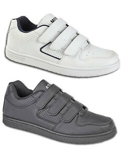 Mens-Velcro-Light-Sports-Casual-Black-White-Trainers-Shoes-Size-6-7-8-9-10-11-12