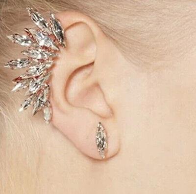 New Design Fashion Punk Crystal Leaf Wings Cuff Clip Stud Earring Right Ear 1PC