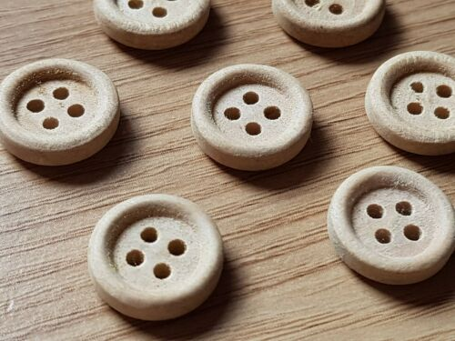 20 Naturel en Bois Rond Couture Boutons 13 mm 4 trous Craft Scrapbook Shabby Chic