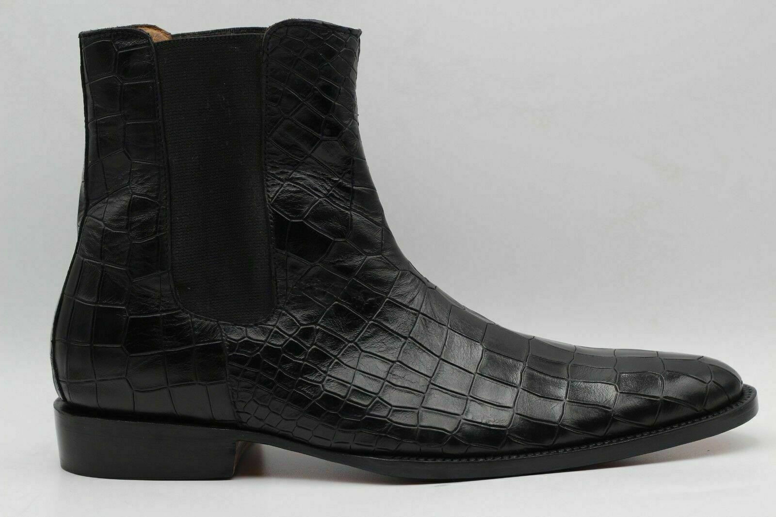 noire handgefertigte noire Chelsea-Lederbottes mit Krokodil-Print