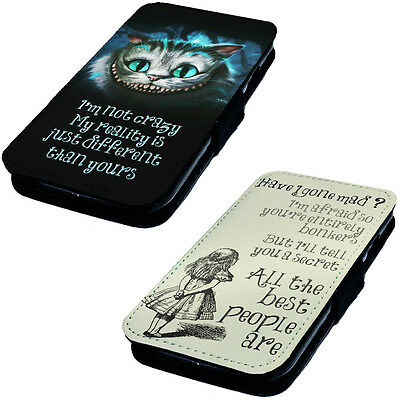 We're All Mad Here ! - Printed Faux Leather Flip Phone Cover Case Alice Inspired