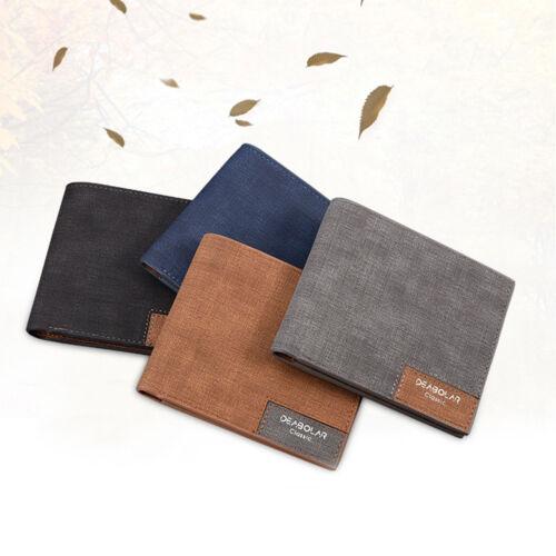 Men Slim Leather Bifold Wallet Retro Male Purse Card Holder 11*9.5*0.6cm