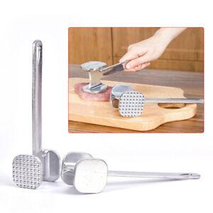 Stainless Steel Double Side Beaf Steak Mallet Meat Hammer Tenderizer G0W1
