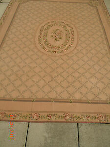 French Floral Aubusson & Trellis Lace Needlepoint Rug~Simply Elegant!