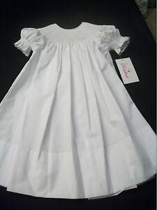 NWT SMOCKED ALL WHITE BISHOP DRESS ROSALINA CONFORMATION ...