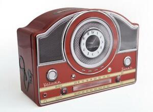 Tin-Bread-Box-Storage-Box-034-Radio-Nostalgia-034-23-cm-Jewelry-Box-New