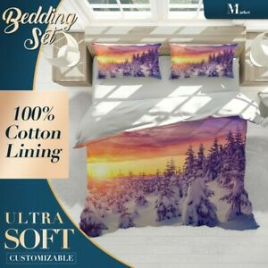 Snow-Tree-Nature-Mountain-Purple-Duvet-Cover-Sets-with-2x-Matching-Pillowcases