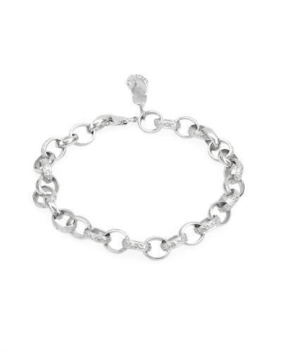 environ 19.05 cm Shoe Charm Bracelet avec un véritable diamant en argent sterling 925 7.5 in